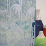 PV04018-3004 Bamboo Shoots White on Blue Gossamer